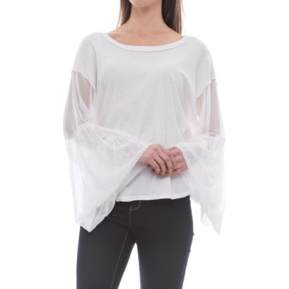 Free People Womens Ruffled Sleeves Basic T-Shirt